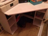 White Corner Computer Desk nearly new - perfect for at home office