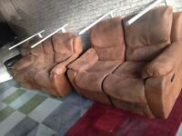 Suede Reclining Sofa Set 3 & 2 all recline very comfy two tone materiel delivery is free