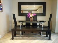 black and chrome gloss dining table with 4 chairs