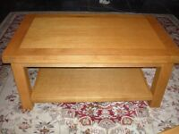 Lovely golden oak coffee table, practically new condition