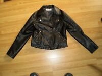girls leather jacket size 146 age 10/11 years good condition