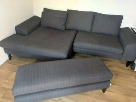 French connection charcoal sofa, Left corner facing with footstool