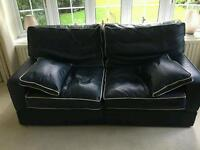 Blue leather sofa in excellent condition