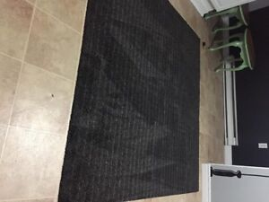 charcoal grey stripped rug