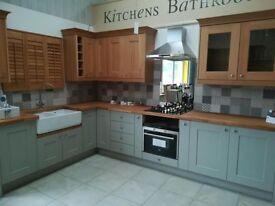 REDUCED Ex Display solid oak kitchen, solid oak worktops, belfast sink & tap