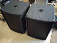 "15"" NJD PA Subwoofer Speakers (pair)"