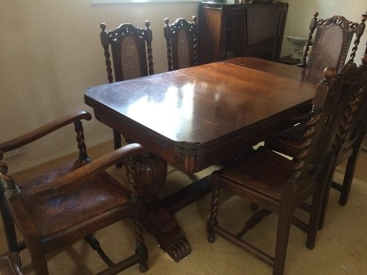 Magnificent 1920S Oak Dining Table And 6 Leather Chairs In Braunton Devon Gumtree Cjindustries Chair Design For Home Cjindustriesco