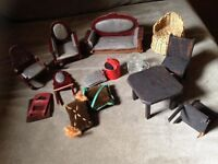 A bundle of antique vintage dolls house furniture pint glass watering can