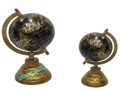 Nautical Brass Round  Rotated World Globe Desktop Home & Office Decor Table item