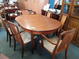 G plan table with 6 chairs