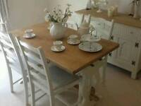 Lovely oak dining table & 4 chairs finished in Farrow &Ball