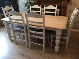 Solid Wood Farmhouse Dining Table With Six Chairs