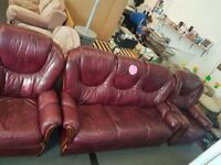 3+1+1 Purple Leather Sofa In Mint Condition