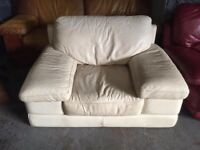 really nice and comfortable cream leather armchair really good. Free local delivery