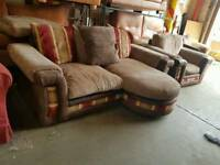 Beige and brown fabric 2 seater sofa with matching armchair