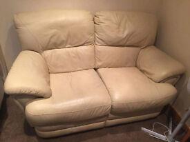 3+2 Cream Leather Recliner Suite