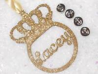 Personalised crown glitter christmas tree baubles