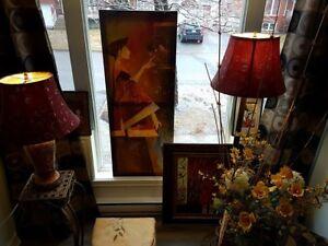 Déco, lampes,cadres, tables (support),pouf,porte-fleur, rideaux
