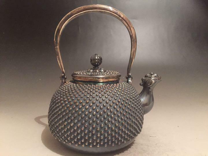 Japanese teapot Kyusu kettle pure silver ginbin arare 15*12*17cm 502g