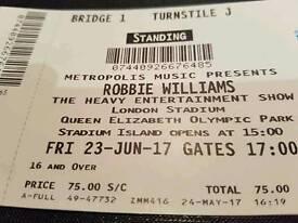 Robbie williams tickets 23rd June London stadium Stratford