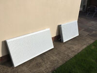 2 white radiators