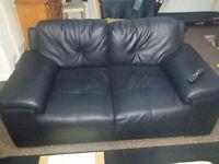 Black Italian Leather 2 Seater sofa