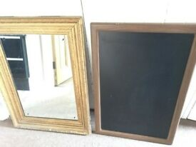 Gilt mirror and chalkboard