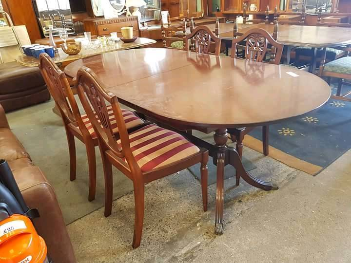 Oval Dining Table And 4 Fabric Striped Chairs