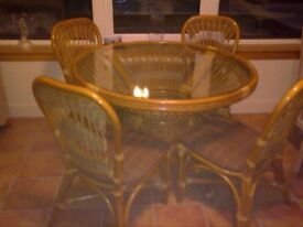 Round Glass Top Table & Four Chairs by Desser Furniture