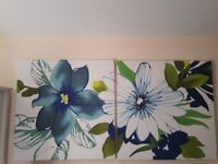 Large Next Floral Wall Art/ Canveses x 2