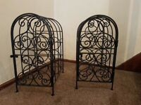 Cast iron wine racks pair
