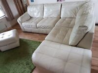 Large Leather Corner sofa. 3 sections and a foot stall Collection from Fulbourn Cambridge