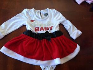 Santa baby girl outfit with hat 6-9mths