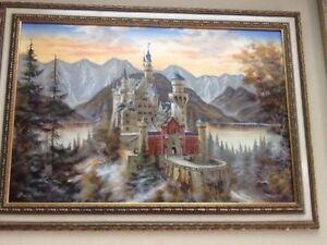 1940 oil on canvas of neuschwanstein castle in barvaria