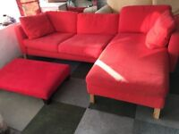 Red Corner Sofa with sofa footstool very comfy removable covers very clean splits into 2 deliver