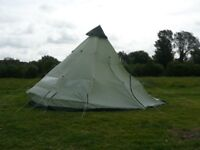 HUGE 12/16+ Person Teepee / Bell Tent - 4 Metre Height x 8 Metre Diameter with Sewn-In Groundsheet