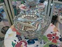 Vintage glass footed bowl Now £10