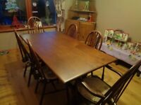 Ercol Old Colonial elm Refectory dining table & 6 chairs