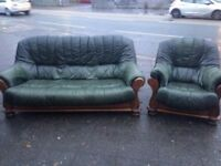 Real leather sofa set in excellent condition very smart very comfortable free local delivery