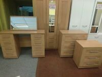 Valencia light oak range (wardrobes, bedsides, chest of draws etc)