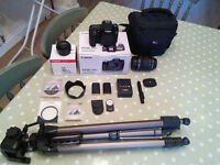 Canon EOS 70D Camera (20.2MP) with bag, tripod, 2 lenses, 2 batteries, filters, ...
