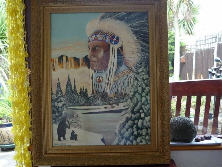 Large Indian Chief Western Oil Painting Picture Framed