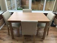 120cm Dining Room Table with 4 Cream Chairs - Oak Effect