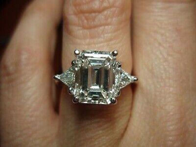 2.00 ct. 3 stone Emerald Diamond Engagement Ring w/ Trillion Cut GIA G VS1 14k  1