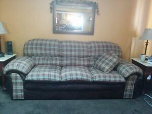 3 piece Sofa. Loveseat & Chair set.Brown bonded leather & Fabric