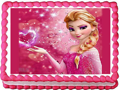 Frozen Pink Elsa edible cake topper decoration frosting sheet image-1/4 sheet