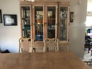 Dining room table with China cabinet ( 2 lights in cabinet)
