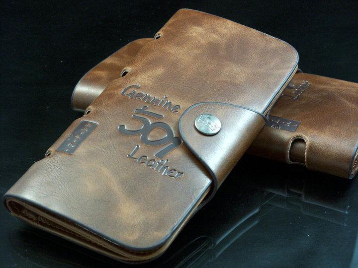 Men's Leather Wallet Bifold ID Card Holder Checkbook Long Clutch Billfold Purse 6