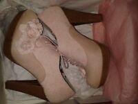 New In Box Ruby Shoo Pink Platform Heels Size 4
