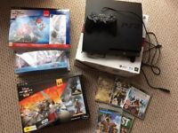 PS3 160gb with BRAND NEW DISNEY INFINITY GAMES AND FIGURES